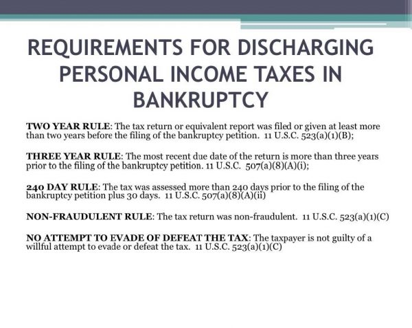 Taxes and Bankruptcy